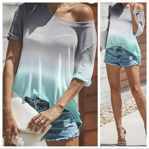 Perfect Ombre' Fade Tee / Gray, White & Mint
